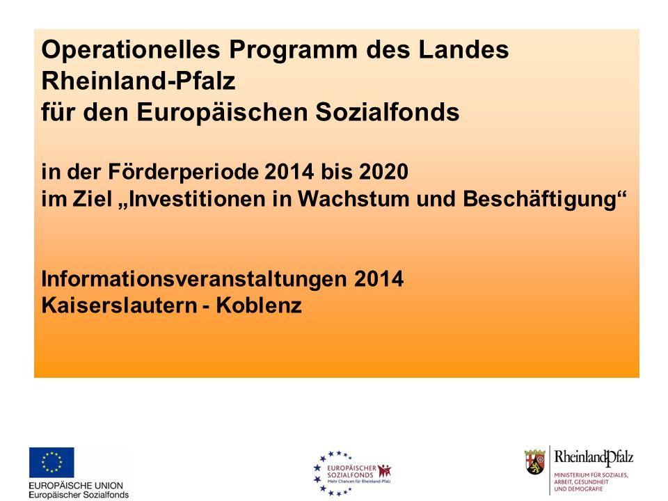 Operationelles Programm des Landes Rheinland-Pfalz für den Europäischen Sozialfonds