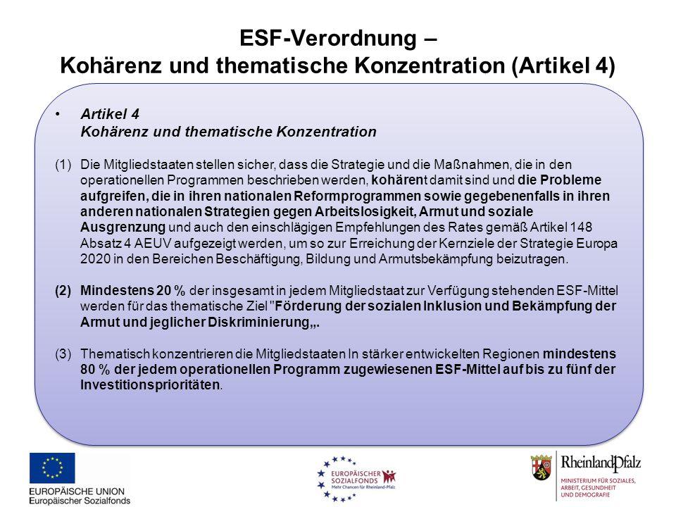 ESF-Verordnung – Kohärenz und thematische Konzentration (Artikel 4)