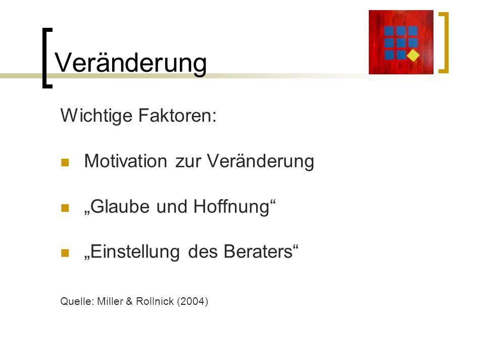 Veränderung Wichtige Faktoren: Motivation zur Veränderung