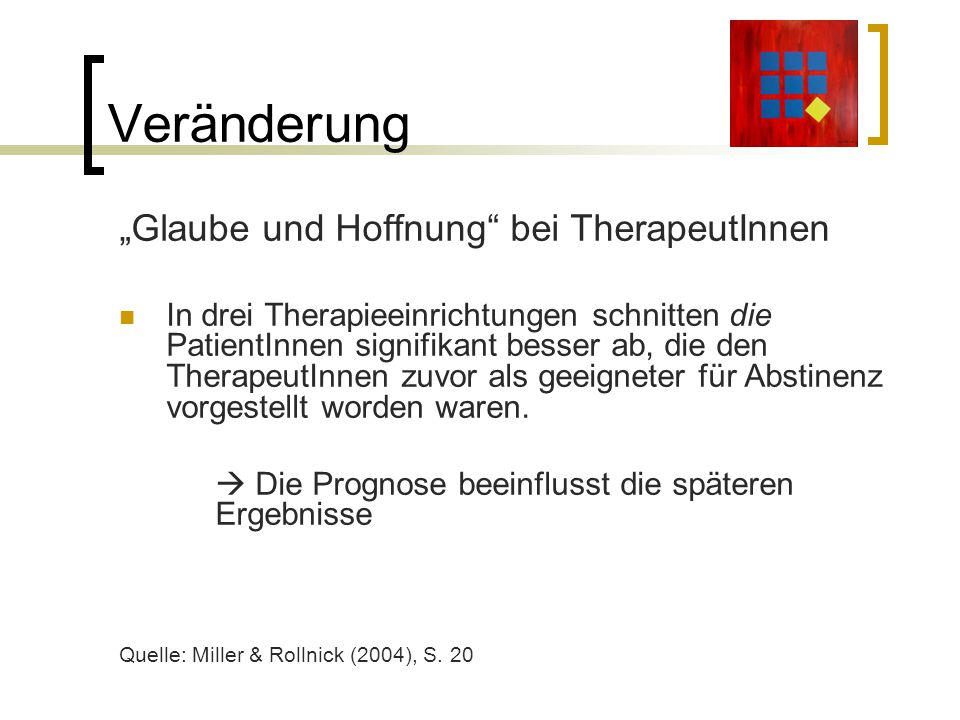 """Veränderung """"Glaube und Hoffnung bei TherapeutInnen"""