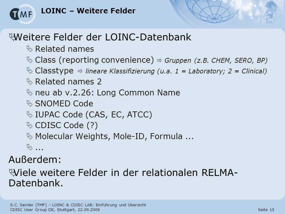 Weitere Felder der LOINC-Datenbank