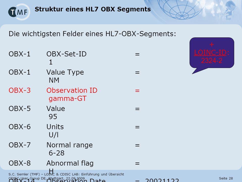 Struktur eines HL7 OBX Segments