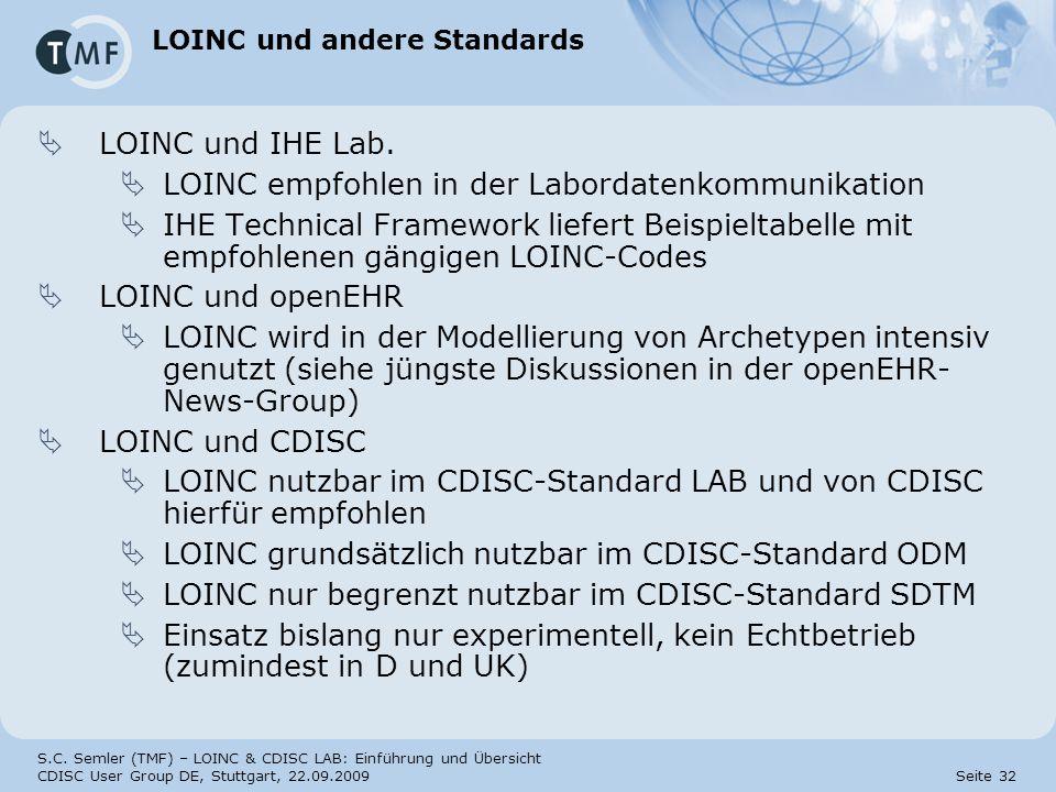 LOINC und andere Standards