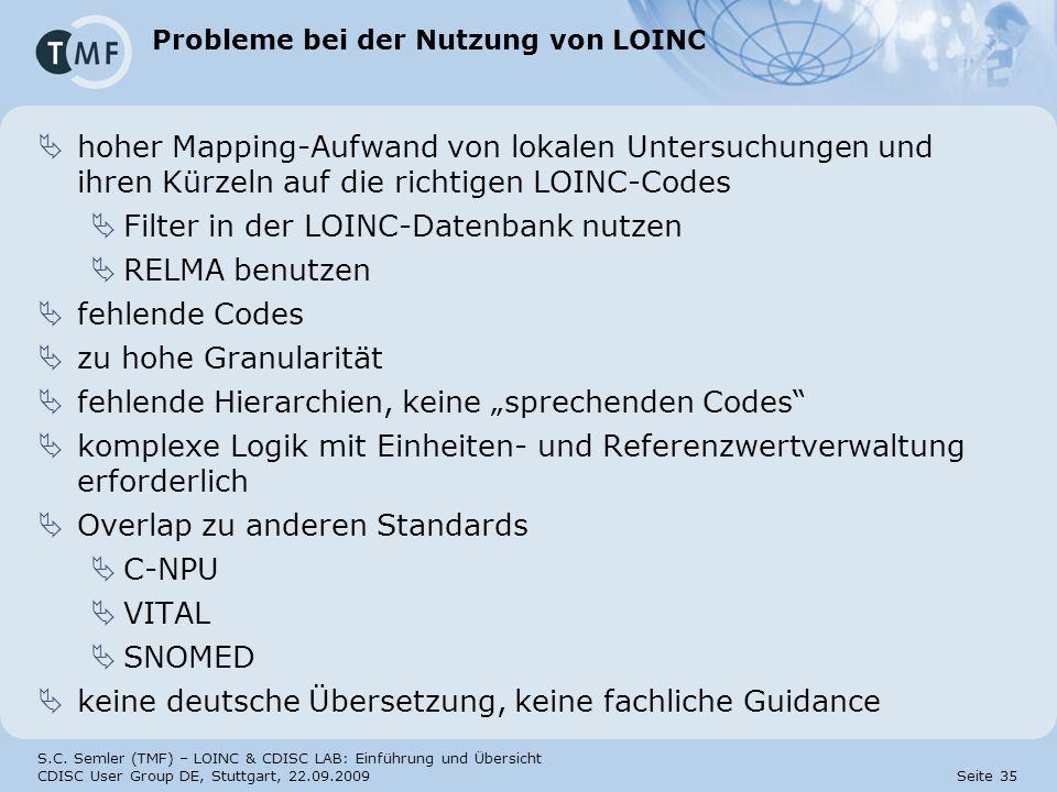 Probleme bei der Nutzung von LOINC
