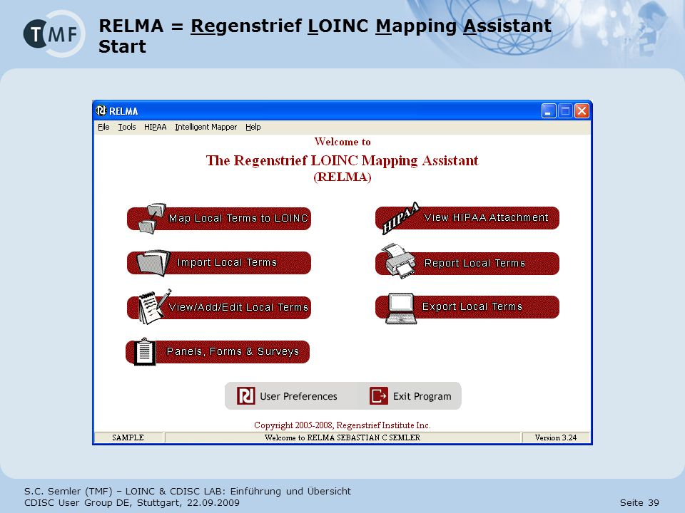 RELMA = Regenstrief LOINC Mapping Assistant Start