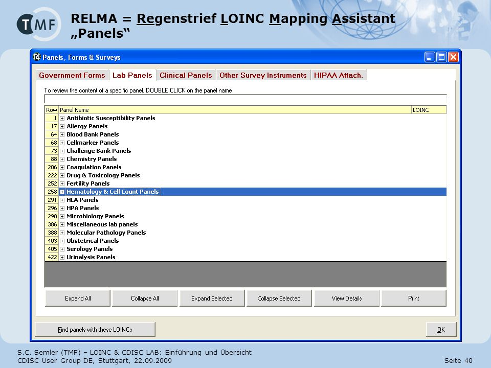 "RELMA = Regenstrief LOINC Mapping Assistant ""Panels"