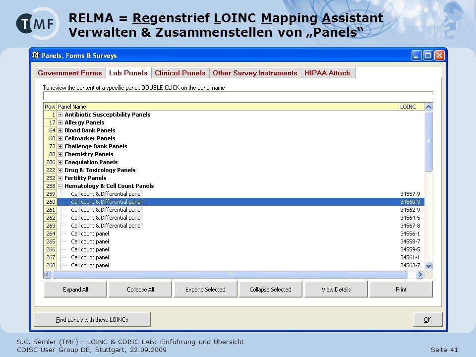 """RELMA = Regenstrief LOINC Mapping Assistant Verwalten & Zusammenstellen von """"Panels"""