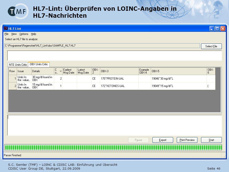 HL7-Lint: Überprüfen von LOINC-Angaben in HL7-Nachrichten