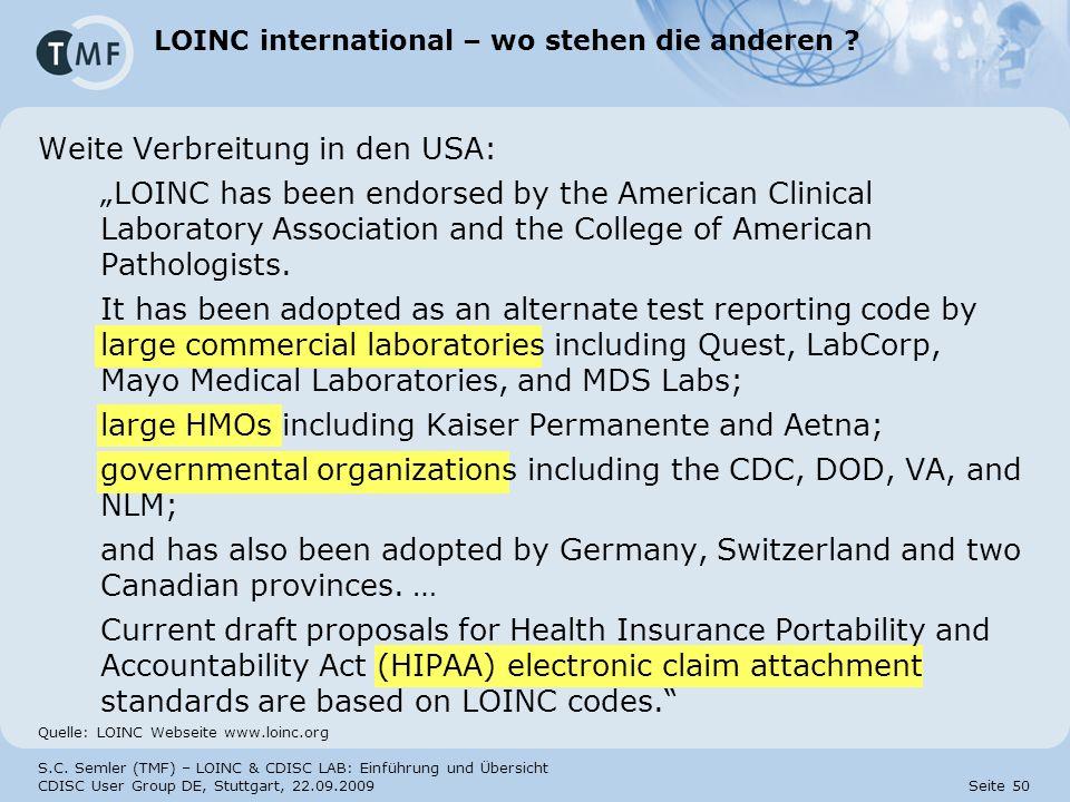 LOINC international – wo stehen die anderen