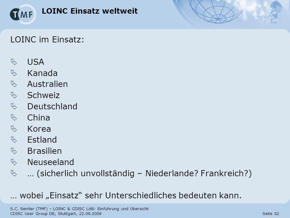 LOINC Einsatz weltweit