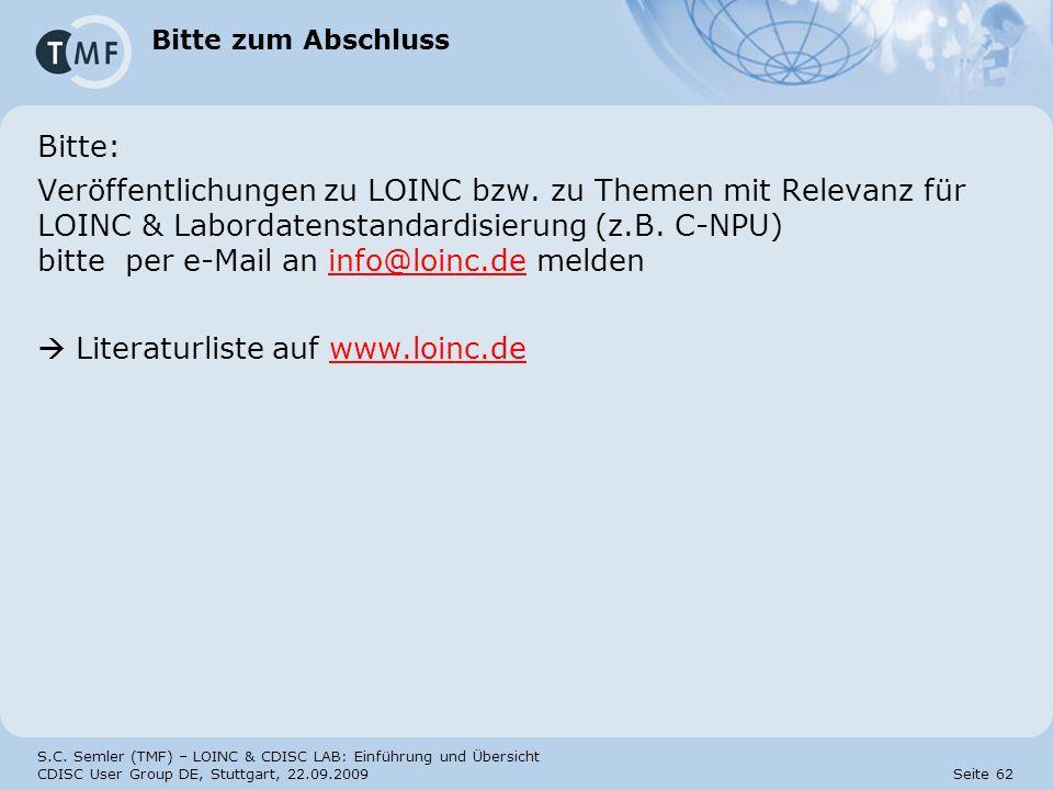  Literaturliste auf www.loinc.de
