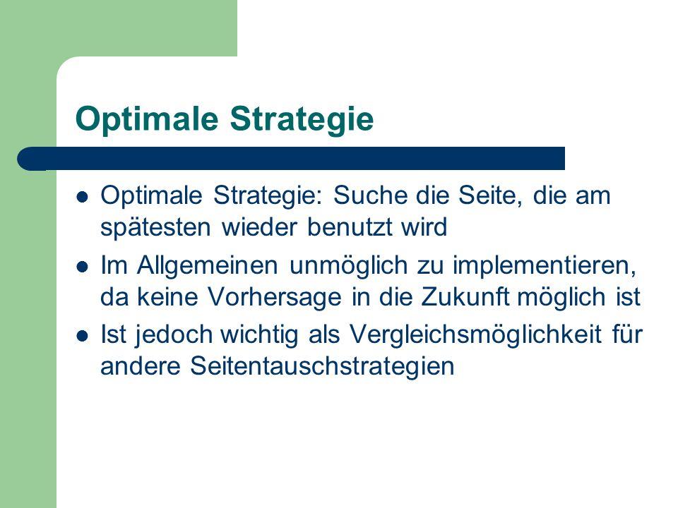 Optimale Strategie Optimale Strategie: Suche die Seite, die am spätesten wieder benutzt wird.