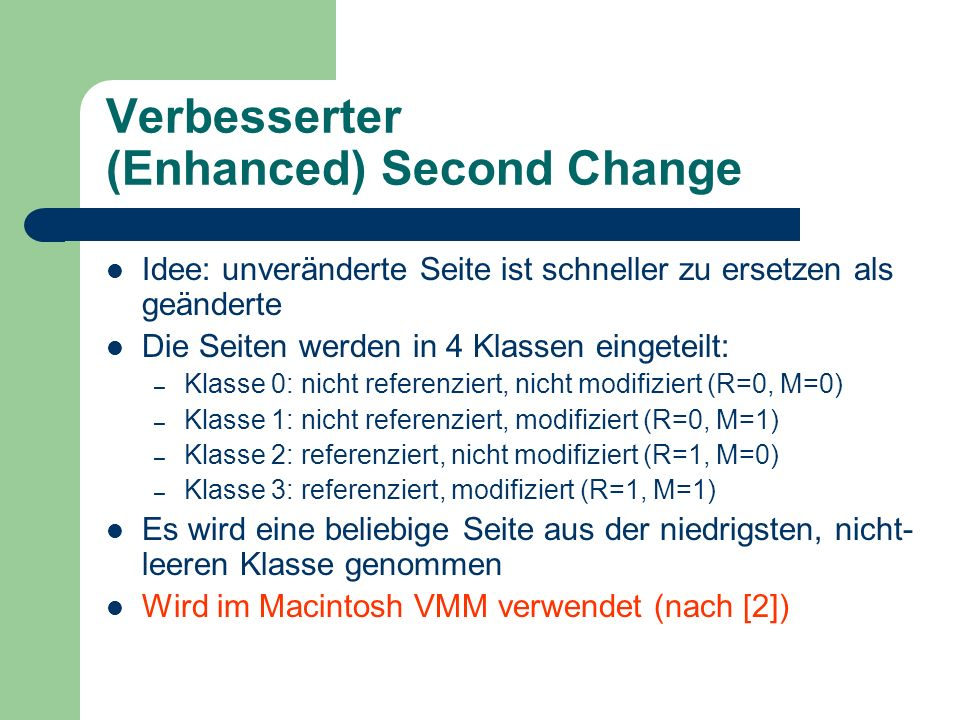 Verbesserter (Enhanced) Second Change