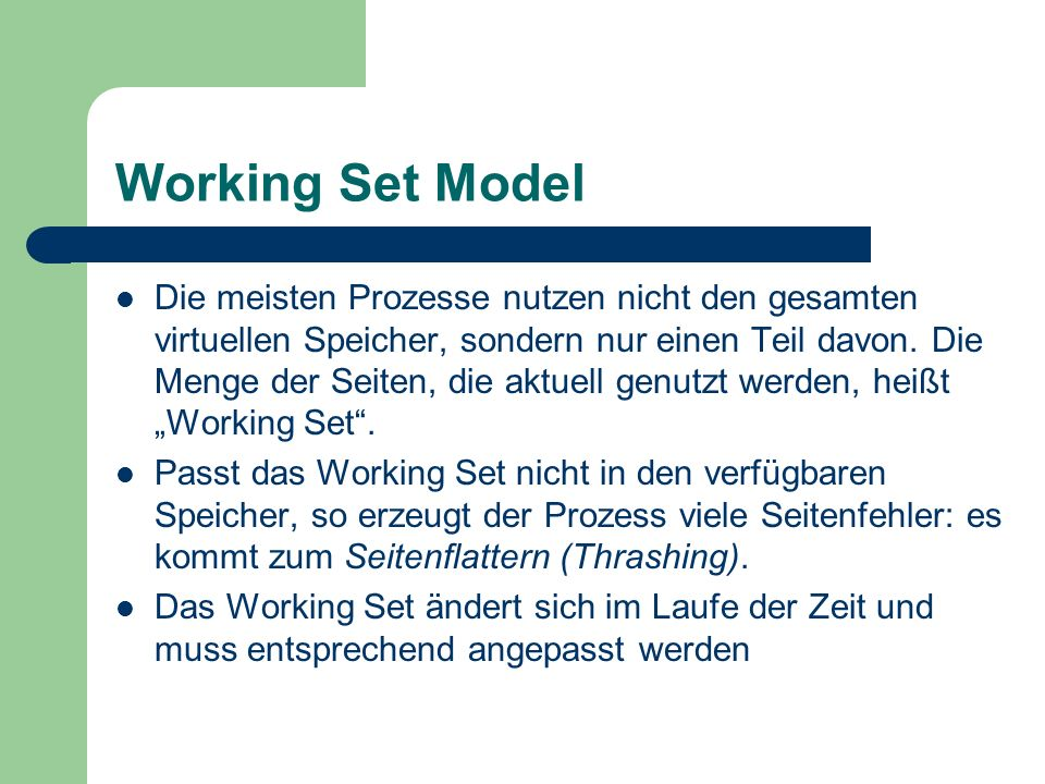 Working Set Model