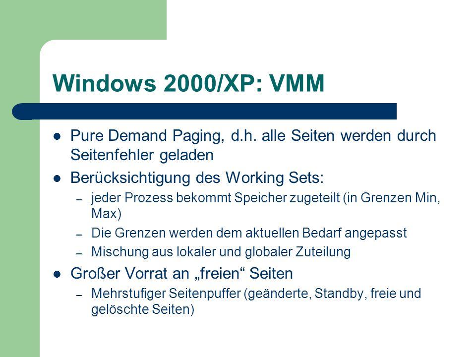 Windows 2000/XP: VMM Pure Demand Paging, d.h. alle Seiten werden durch Seitenfehler geladen. Berücksichtigung des Working Sets: