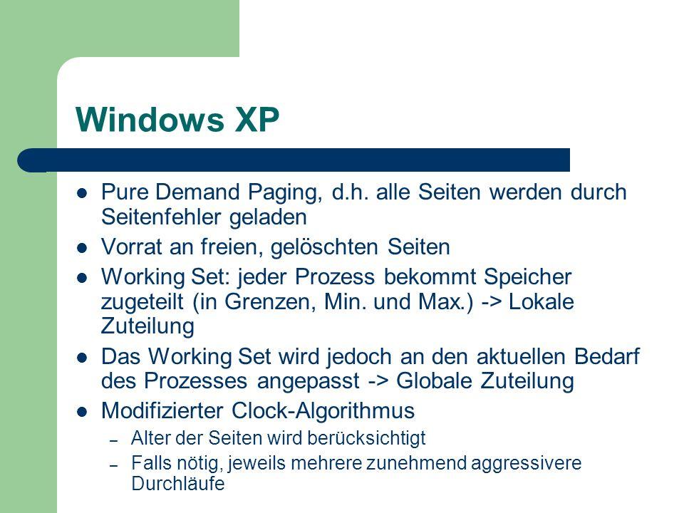 Windows XP Pure Demand Paging, d.h. alle Seiten werden durch Seitenfehler geladen. Vorrat an freien, gelöschten Seiten.