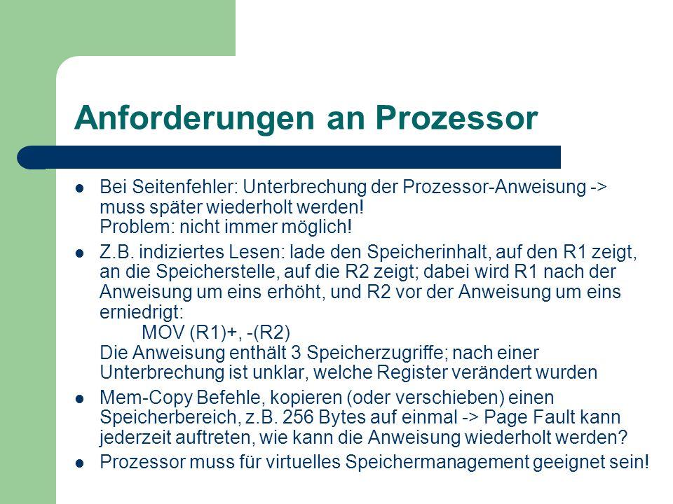 Anforderungen an Prozessor