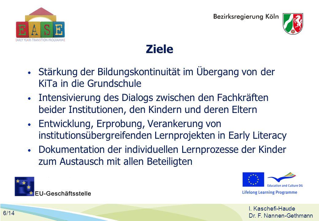 Ziele Stärkung der Bildungskontinuität im Übergang von der KiTa in die Grundschule.