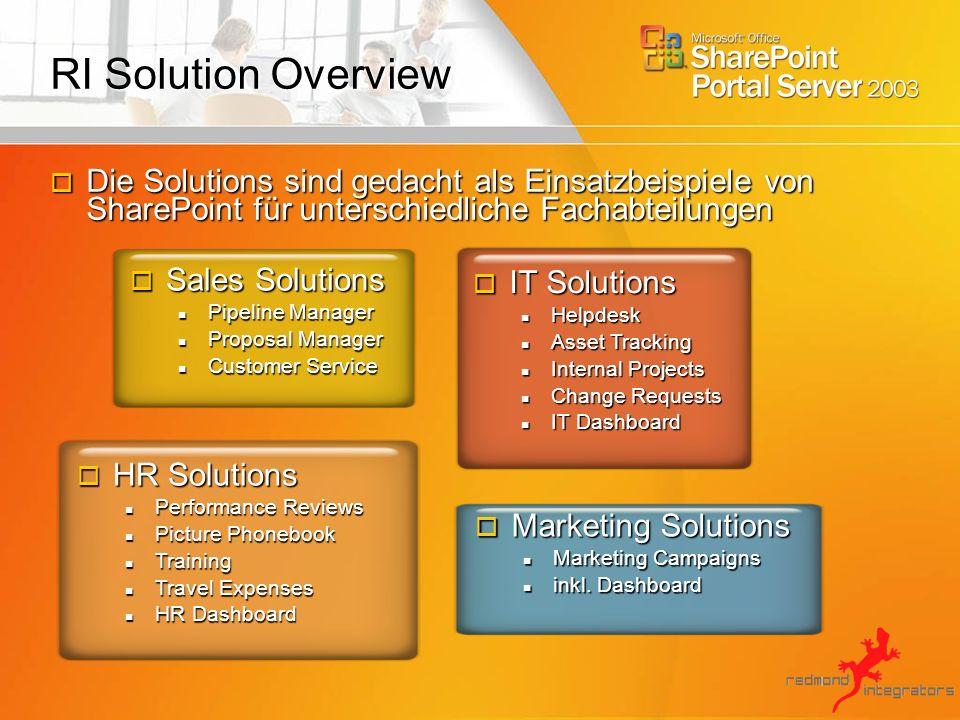 RI Solution Overview Die Solutions sind gedacht als Einsatzbeispiele von SharePoint für unterschiedliche Fachabteilungen.