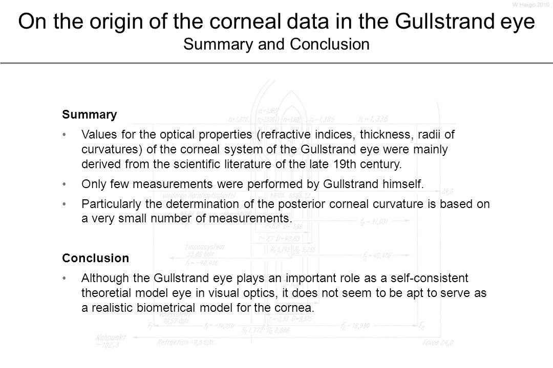 W.Haigis 2010On the origin of the corneal data in the Gullstrand eye Summary and Conclusion. Summary.