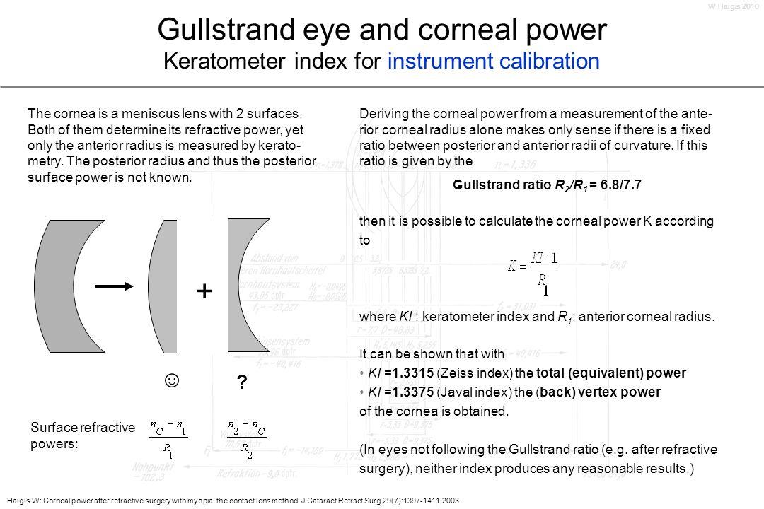 W.Haigis 2010Gullstrand eye and corneal power Keratometer index for instrument calibration.