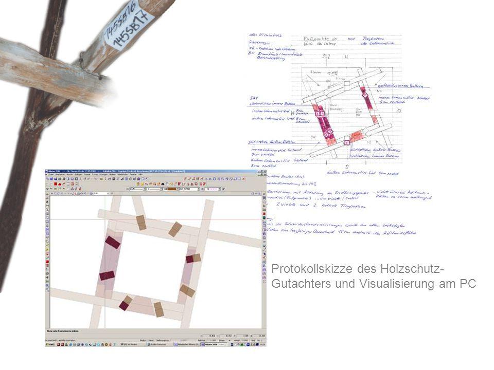 Protokollskizze des Holzschutz-Gutachters und Visualisierung am PC