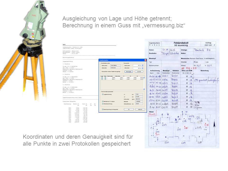 """Ausgleichung von Lage und Höhe getrennt; Berechnung in einem Guss mit """"vermessung.biz"""