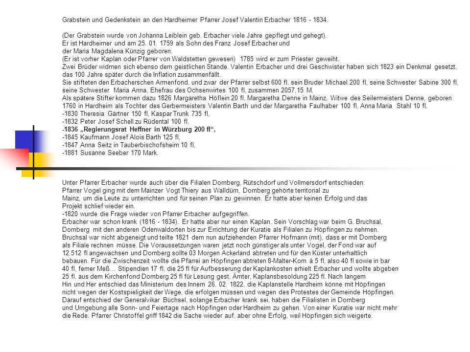 Grabstein und Gedenkstein an den Hardheimer Pfarrer Josef Valentin Erbacher 1816 - 1834.