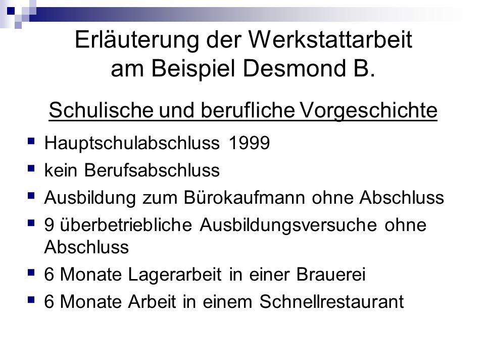 Erläuterung der Werkstattarbeit am Beispiel Desmond B