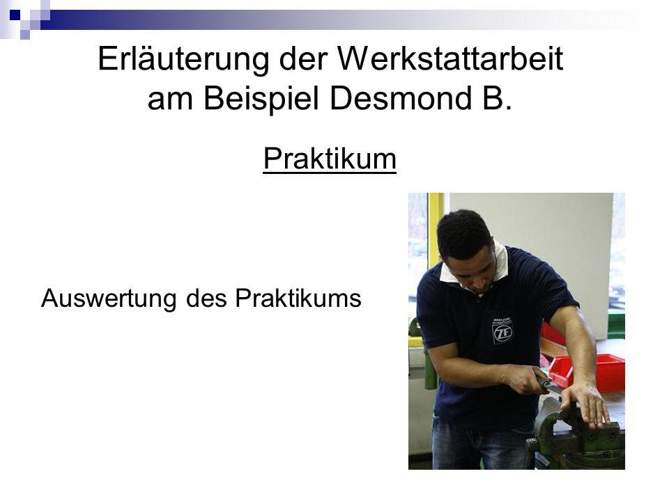 Erläuterung der Werkstattarbeit am Beispiel Desmond B. Praktikum