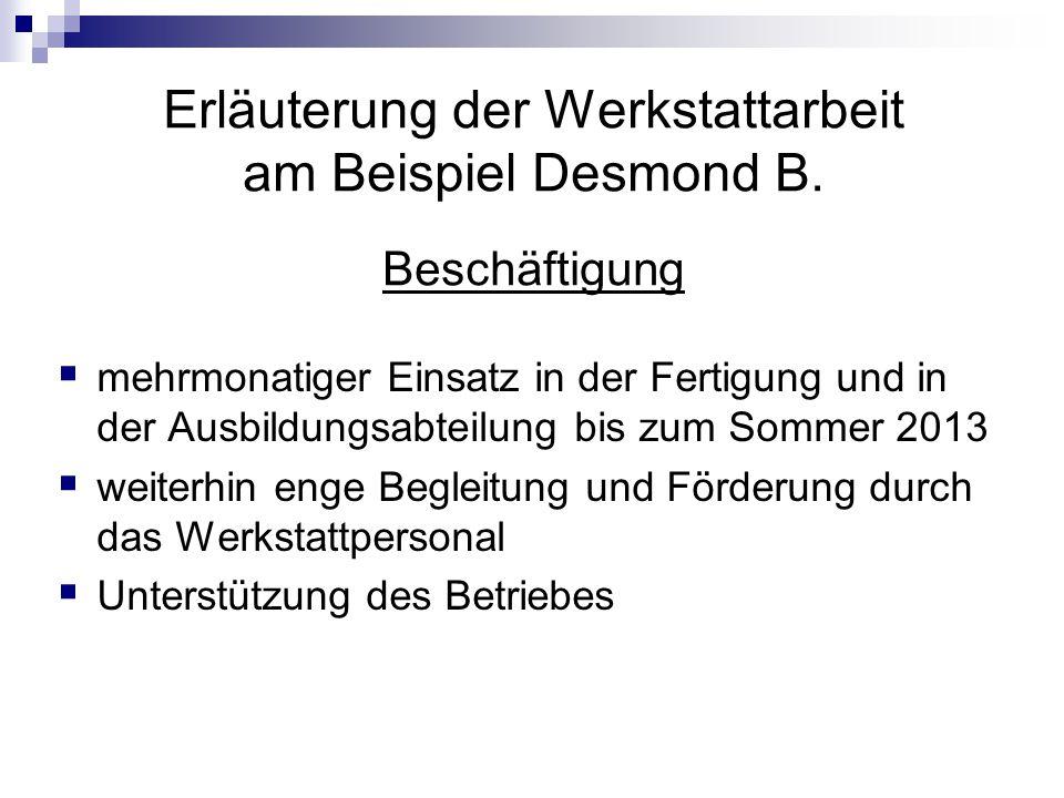 Erläuterung der Werkstattarbeit am Beispiel Desmond B. Beschäftigung