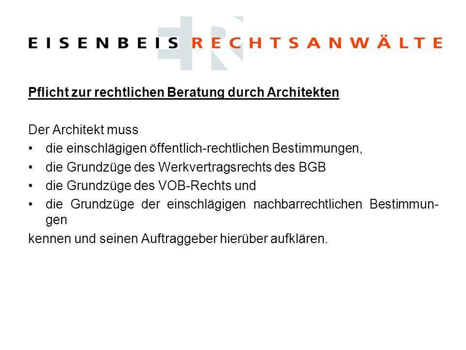 Pflicht zur rechtlichen Beratung durch Architekten
