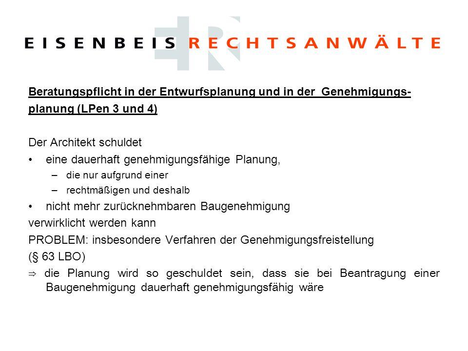 Beratungspflicht in der Entwurfsplanung und in der Genehmigungs-