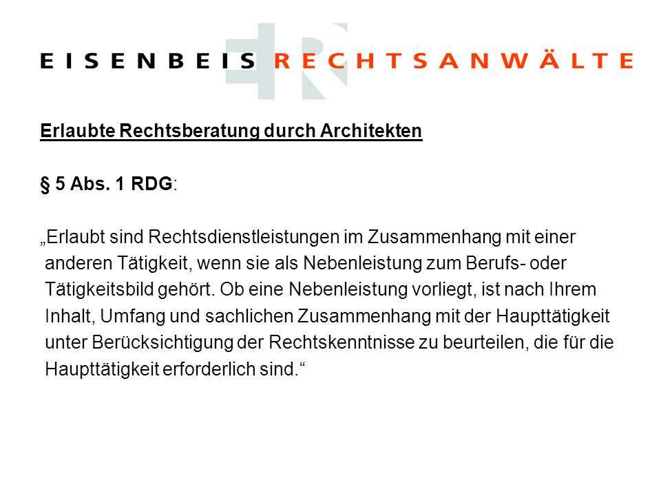 Erlaubte Rechtsberatung durch Architekten