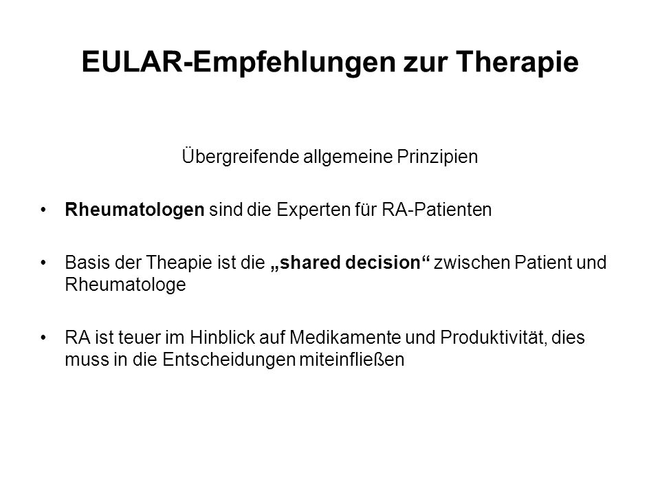 EULAR-Empfehlungen zur Therapie