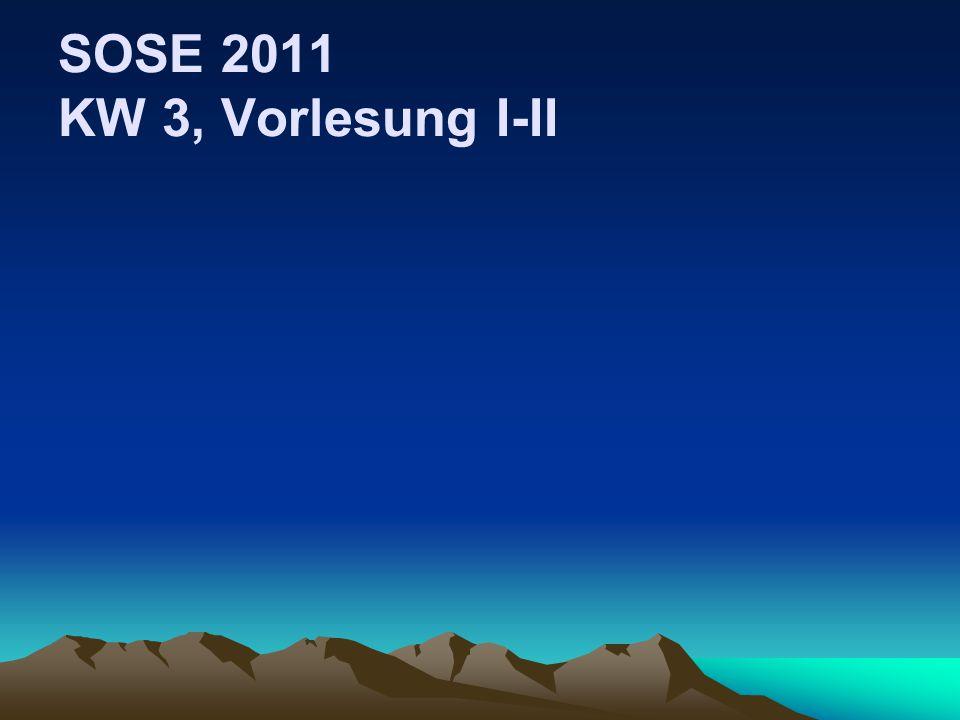 SOSE 2011 KW 3, Vorlesung I-II