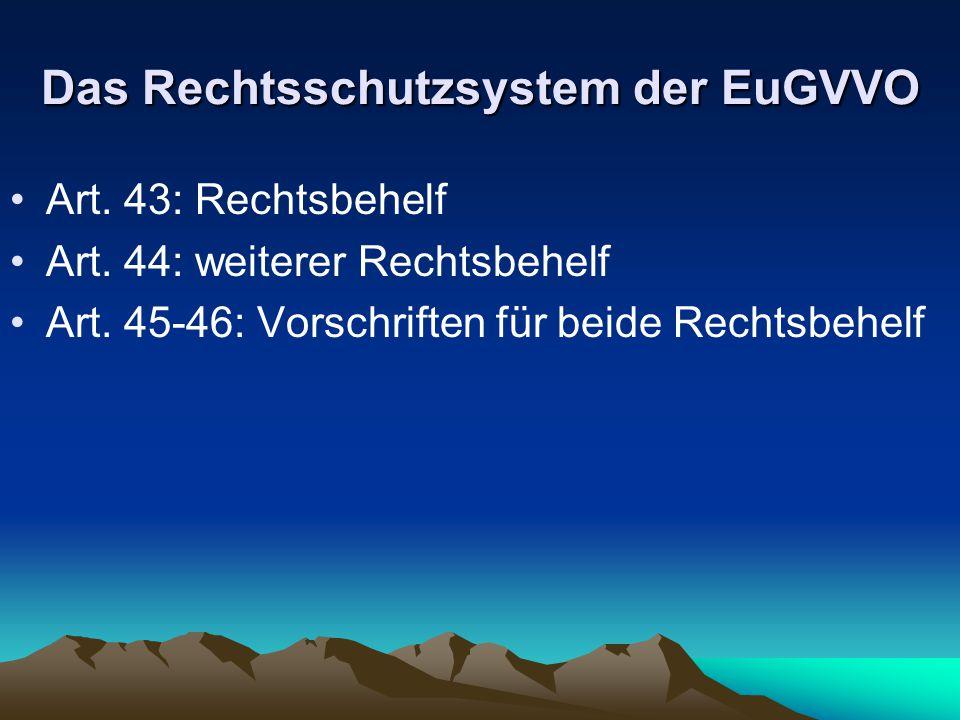 Das Rechtsschutzsystem der EuGVVO
