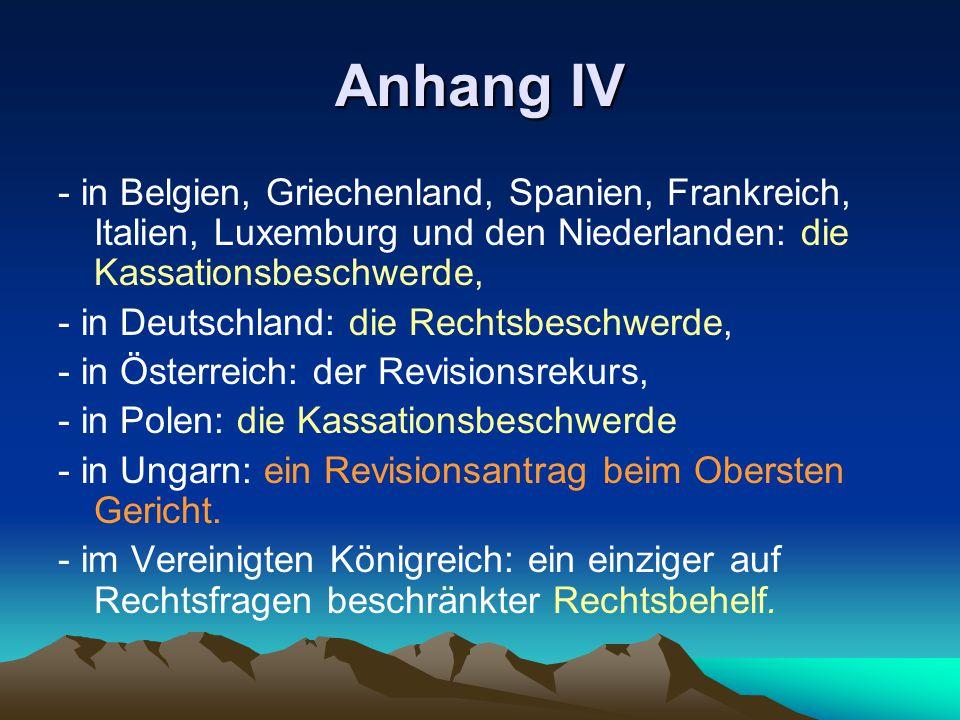 Anhang IV - in Belgien, Griechenland, Spanien, Frankreich, Italien, Luxemburg und den Niederlanden: die Kassationsbeschwerde,