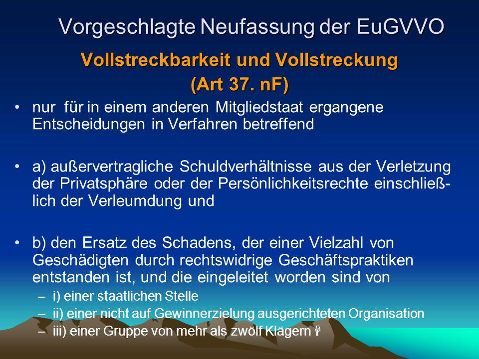 Vorgeschlagte Neufassung der EuGVVO