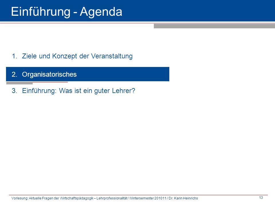Einführung - Agenda Ziele und Konzept der Veranstaltung
