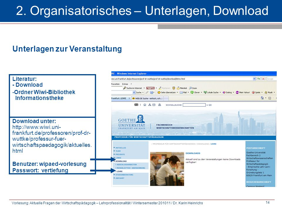 2. Organisatorisches – Unterlagen, Download