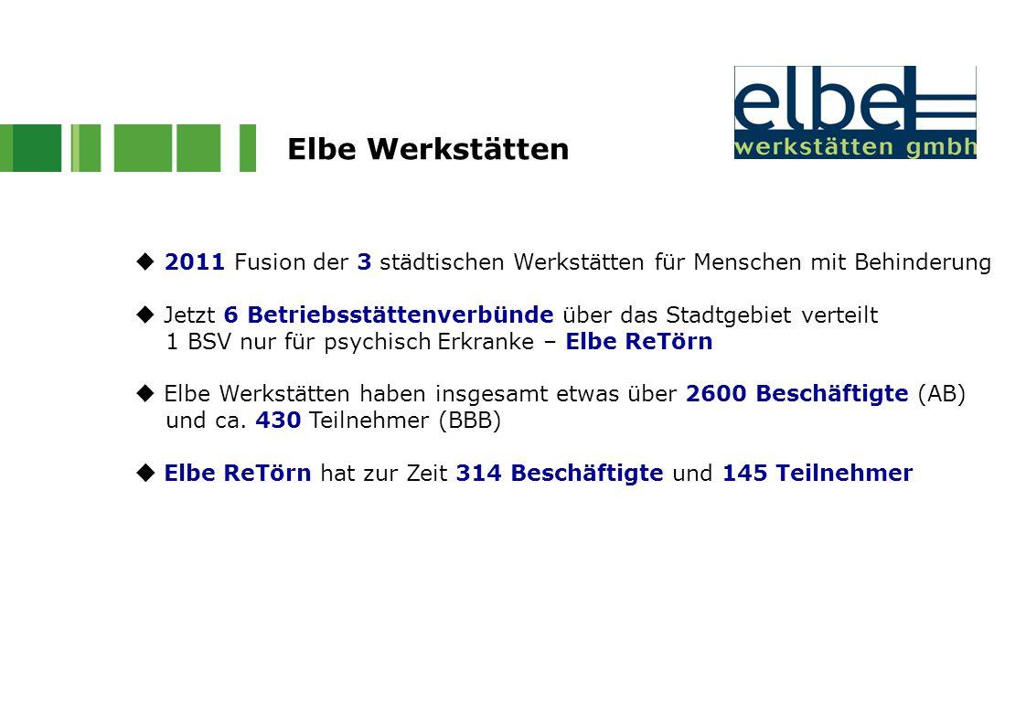 Elbe Werkstätten  2011 Fusion der 3 städtischen Werkstätten für Menschen mit Behinderung.