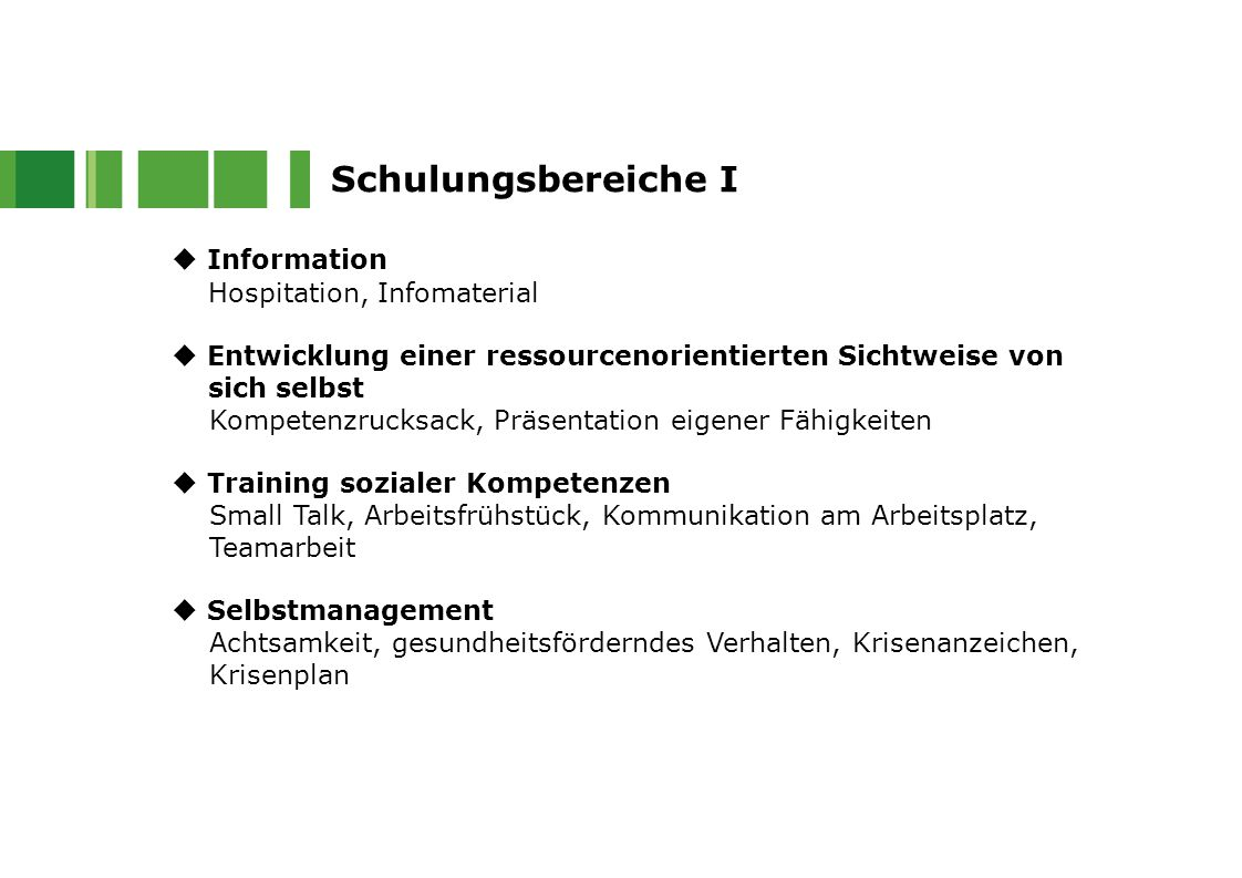 Schulungsbereiche I  Information Hospitation, Infomaterial