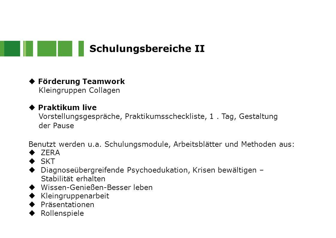 Schulungsbereiche II  Förderung Teamwork Kleingruppen Collagen