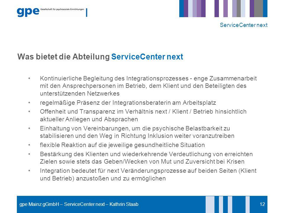 Was bietet die Abteilung ServiceCenter next