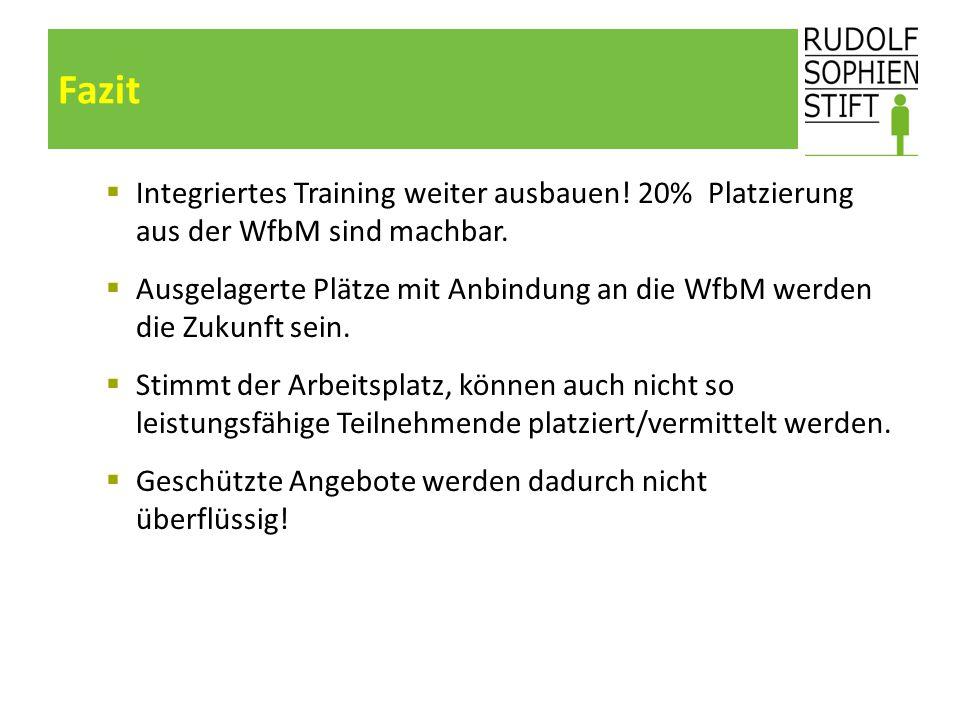 Fazit Integriertes Training weiter ausbauen! 20% Platzierung aus der WfbM sind machbar.