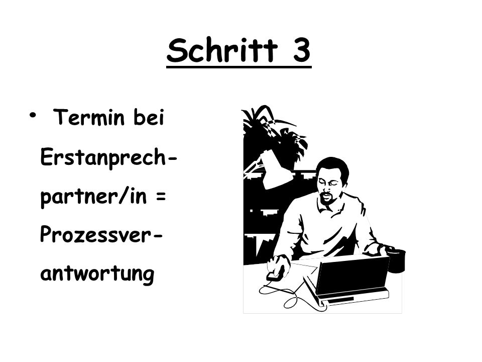 Schritt 3 • Termin bei Erstanprech- partner/in = Prozessver-