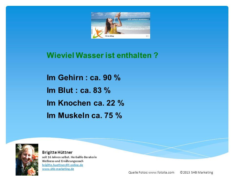 Wieviel Wasser ist enthalten Im Gehirn : ca. 90 % Im Blut : ca. 83 %