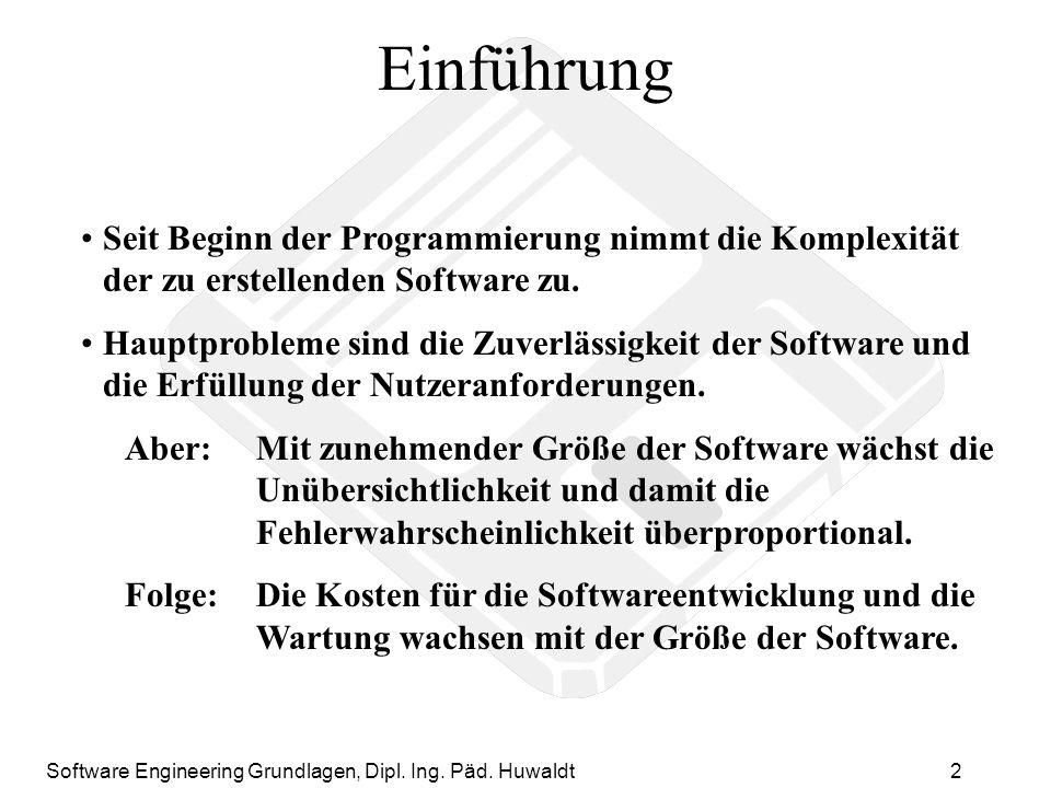 Einführung Seit Beginn der Programmierung nimmt die Komplexität der zu erstellenden Software zu.