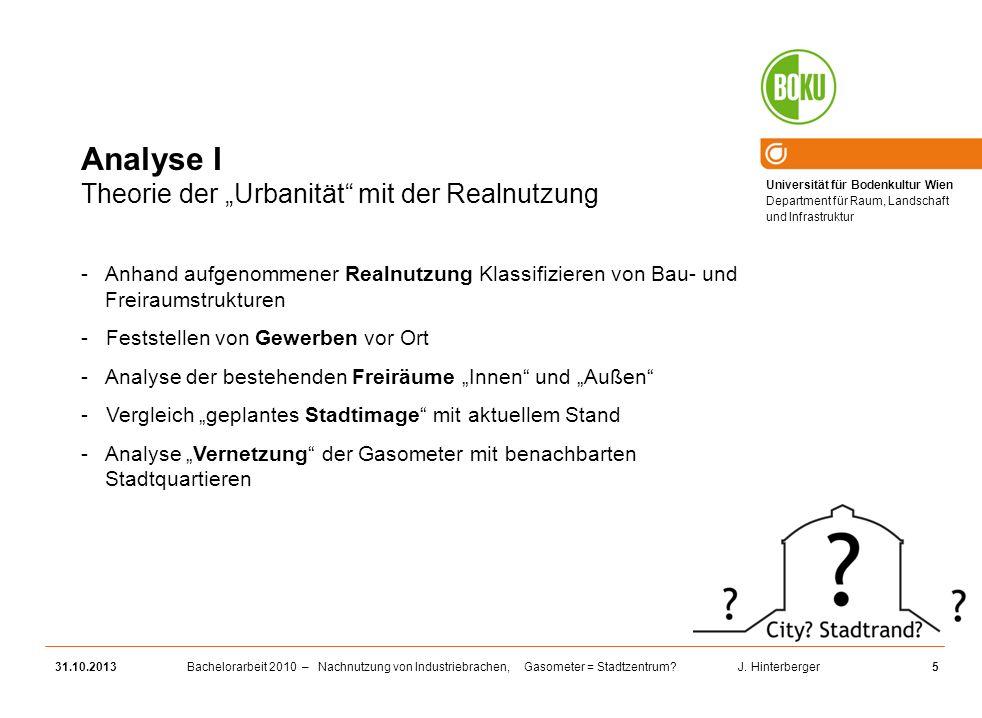 """Analyse I Theorie der """"Urbanität mit der Realnutzung"""